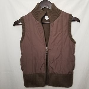 SUZY SHIER Puffy Winter Vest Brown Zip Up Small